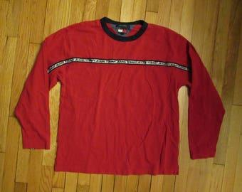 Vintage 90s Tommy Hilfiger Jeans FLAG LOGO Spellout Red Crewneck Sweatshirt XXL