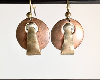 Multi-tone Metal Circle Abstract Shape Earrings, Circa 1990s, Bronze, Gold, and Silver