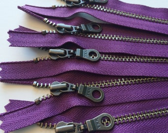 Metal Teeth Zippers- YKK Antique Brass Donut Pull Number 4.5s- 5 pc Eggplant Purple 265- Available in 4,5,7,8,9,10,11,14 or 18 inch