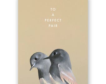 Bird Pair Wedding Card - Birds - Greeting - Stationery