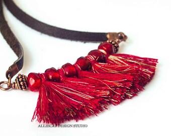 Bohemian Necklace | Boho Necklace | Gypsy Red Tassel Necklace