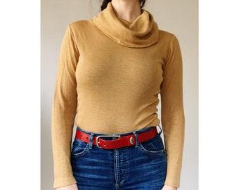 Vintage 70s Long Sleeve Cowl Neck Knitwear Shirt