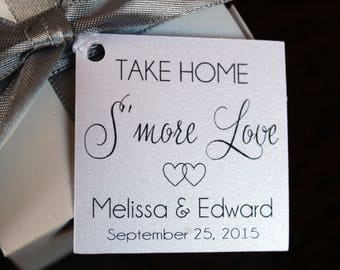 Wedding Favor Tags - Wedding Favor Thank You Tags - Smore Love  Favor Tags - Personalized Wedding Favor Tags - Elegant Favor Tags-Set of 50