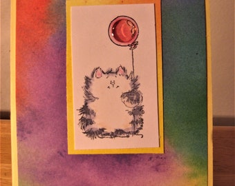 Happy Birthday Cat and Balloon Card