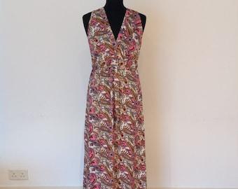 Pink paisley pattern satin/silk dress, long summer dress, hippie dress, vacation wear, cotton beach dress.