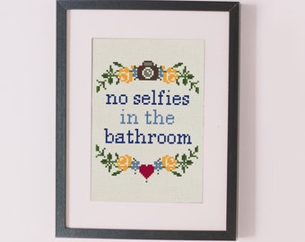 No selfies in the bathroom counted cross stitch pattern