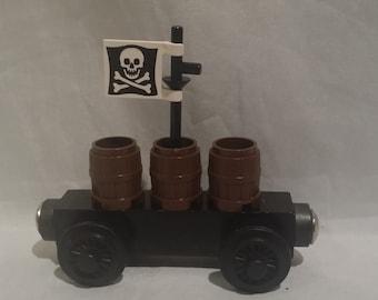 Custom wooden train Thomas train base Pirate gun powder barrels with pirate skull and crossbones flag