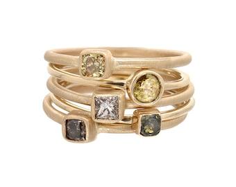 Diamond Ring, Engagement Ring, Rose Cut Diamond Ring, Cushion Cut Diamond, Yellow Diamond, Brown Diamond, Stacking Gold Rings, Nixin