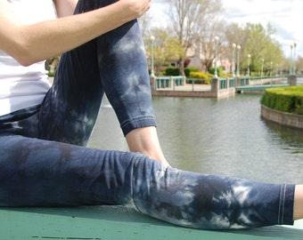"Smoke Gray Tie Dye Yoga Leggings  (Choose your own length) 30"" Inseam"