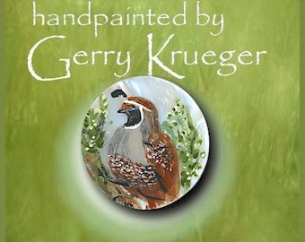 Handpainted Button - Quail - 2