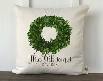 Farmhouse Pillow Cover Personalized Last Name, Boxwood wreath, Housewarming, Anniversary Gift, Wedding Gift,