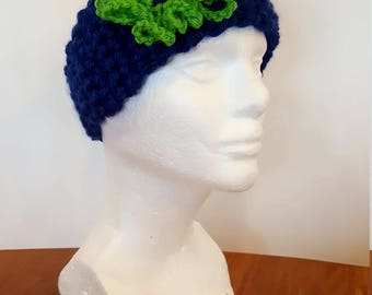 Crocheted Blue Ear Band with Green Flower