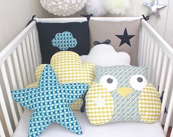 6 baby bumper pillow, clouds, owl, Star, beige/taupe, Navy Blue and mustard yellow