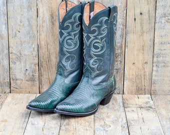 Nocona Lizard Skin Boots cowgirl boots Green Cowboy Boots Leather Cowboy Boots Leather Boots Western Boots Green Leather Boots cowgirl