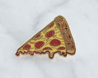 Pizza Pin - Flair – Lapel Pin, Hard Enamel – Pepperoni Slice - Gold
