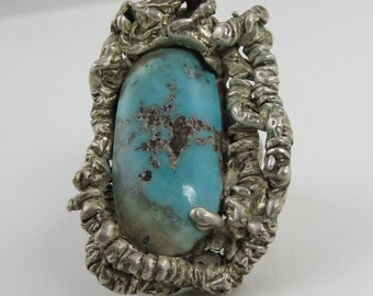 Vintage Huge Brutalist Modernist Sterling Turquoise Ring.