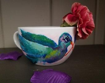 Hand Painted HummingBird  on Mug
