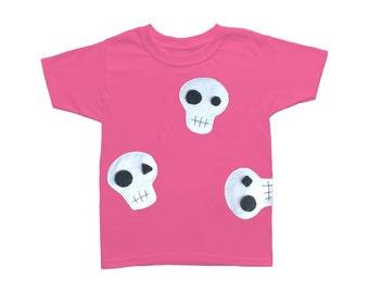 Skulls Can be Cute! - Hot Pink Kids T-Shirt – Boys or Girls [Raspberry]