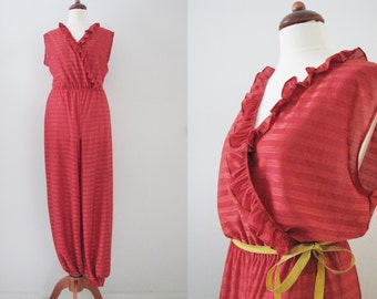 70s Red Airy Lounge Jumpsuit by Palmu Trikoo, S // Vintage Sleeveless Summer Pantsuit w/ Frilly Decolletage