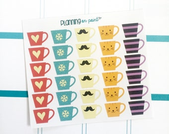 Cute Coffee Mugs Cups - Planner Stickers