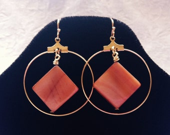 NA Symbol Inspired Gold Large Hoop Earrings with Copper Brown Mother of Pearl Beads