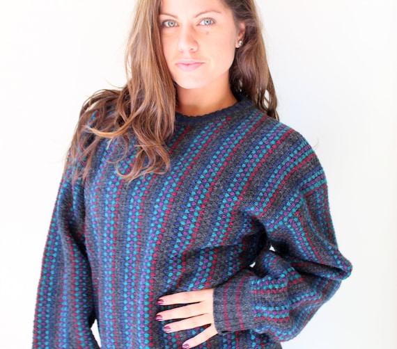 1980s SAVED BY the BELL Geometric Sweater...black. colorful. bright. retro. unisex. striped. urban. 1980s sweater. rad. fun. zack morris hCzoim