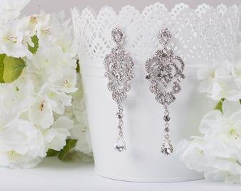 JENNIFER Long Crystal Earrings Chandelier Vintage Crystal Bridal Earrings Long Victorian Earrings Wedding Jewelry drop wedding Earrings