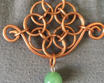 Copper chainmail helmchain pendant