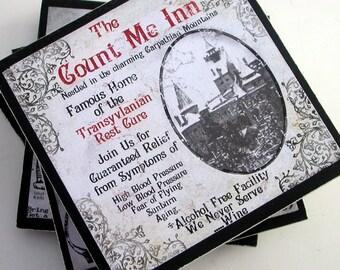 Halloween Decor Coaster Set Gothic Halloween Hostess Gift Dracula the Wolfman