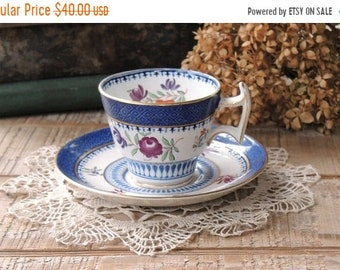 ON SALE Booths Lowestoft Border Demitasse Tea Cup and Saucer Set, Antique Small Tea Cup Set, English China