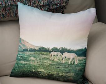 White Horses Throw Pillow, Colorado Home Decor, Horse Lover Gift, Dreamy Pillow Case, Dreamy Bedroom Decor, Horse Decor, Farmhouse Pillows