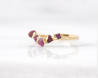 natural ruby ring | raw ruby ring | july birthstone ring | genuine red ruby ring | july birthstone jewelry | arch ring | wave ring | v ring