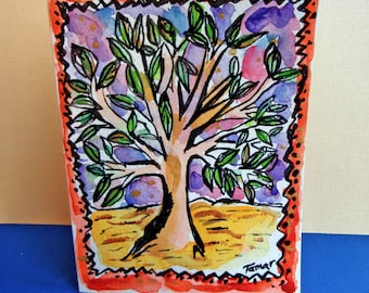 Tree of Life Painting, Jewish Card, Tree Art, Tree of Life Card, Original Drawing, Hand Painted, Jewish Holidays, Colorful Original Painting