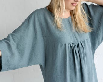 Linen Dress Motumo - 17S1 / Handmade loose linen summer dress with kimono sleeves  / Washed linen dress