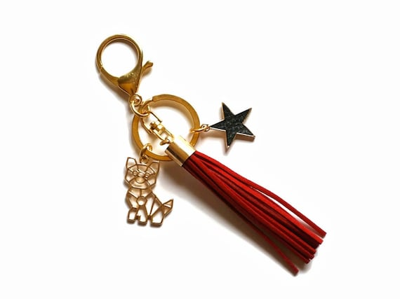 Cat keychain - Keychains for women - Cat lover gift - Cat keyring - Cat gift - Cat accessories - Tassel keychain - Cat lady - Pet keychain