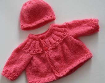 Asymmetrical jacket and coral hat for Doll or Preemie (40 cm)