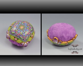 Pincushion, Polymer Clay, Hand-Dyed Cotton, Lavender