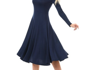 Long Sleeve Fit and Flare Midi Dress Navy