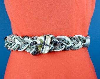 Vintage metallic textile braided belt with shell center piece