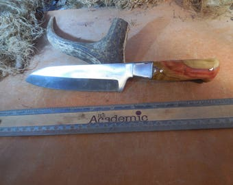 Santoku Chef and Camping Knife Flame box elder  wood handle.
