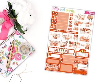 Orange Functional Sampler, Planner Stickers for the Erin Condren Life Planner, Sampler Sheet - [FS0003]