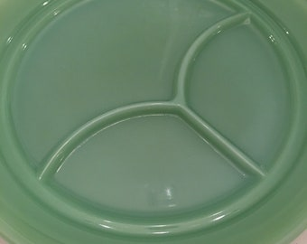 Jadeite Fire King Plate ~ Divided Plate Three Sections ~ Restaurant Ware ~ Vintage Jadeite Glassware ~ Rare Plate ~ Oven Ware Green Glass