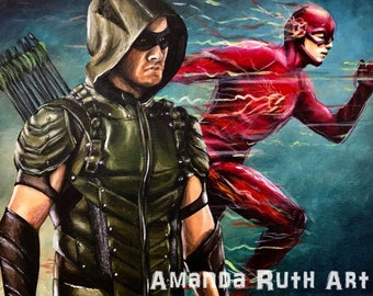 Green Arrow and Flash - Painting - Print