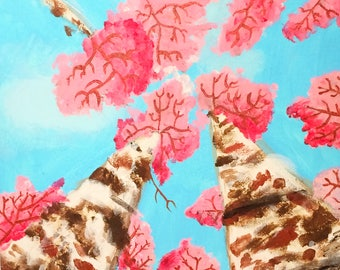 """Blossom Trees Acrylic Painting Original // """"Dreaming"""" 9 x 12"""" On Canvas"""