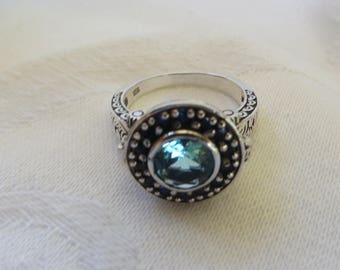 Poison Ring Aquamarine Sterling Filigree March Birthstone Blue Sapphire Stones Keepsake Secret Compartment Ring, Size 6