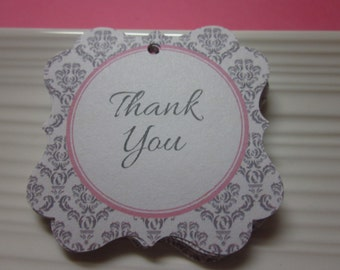 Thank You / Gray and Pink / Damask /  / favor tags / set of 12