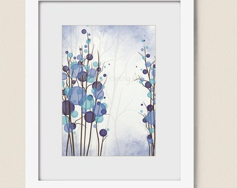 Purple and Blue Wall Decor Living Room Print 5 x 7, Circle Wall Art Print, Modern Decor for Office or Home, Tree Art  (195)