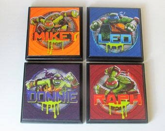 Teenage Mutant Ninja Turtle Set #2 Room Wall Plaques - Set of 4 TMNT Boys Room Decor - Ninja Turtles Wall Signs - Ninja Turtle Bedroom Decor