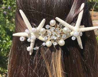 one of a kind exquisite starfish, pearl and rhinestone ladies barrette designed to be warn on wedding or other special event