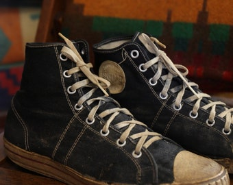 Vintage 1950s 50s Canvas Sneakers Basketball High Tops Size 8 made in USA